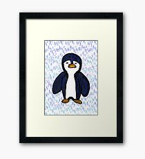 Batik Sad Penguin Framed Print