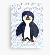Batik Sad Penguin Metal Print