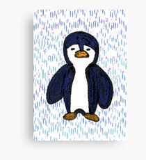 Batik Sad Penguin Canvas Print