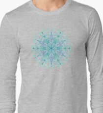Peppermint Snowflake on Cream Long Sleeve T-Shirt