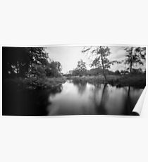 Black and white Analog Pinhole waterflow photo Poster