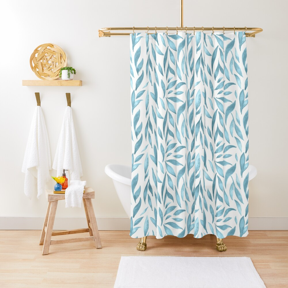 Watercolor Leaves - Blue Grey Shower Curtain