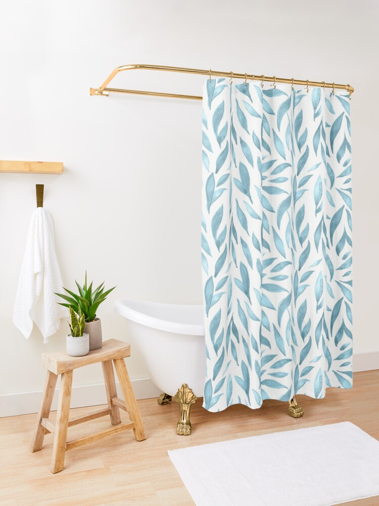 Alternate view of Watercolor Leaves - Blue Grey Shower Curtain