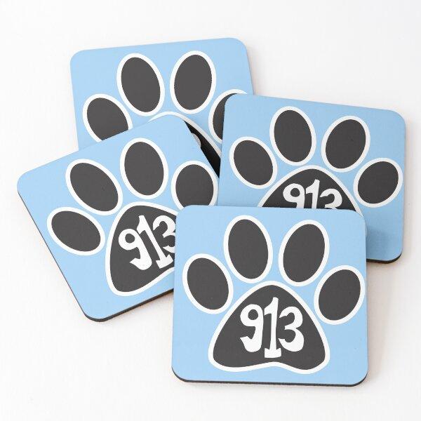 Hand Drawn Kansas Paw 913 Area Code Coasters (Set of 4)