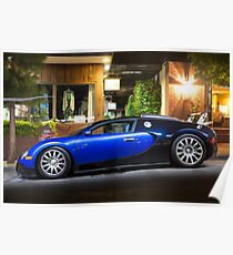 Bugatti Veyron Blue and Black Poster