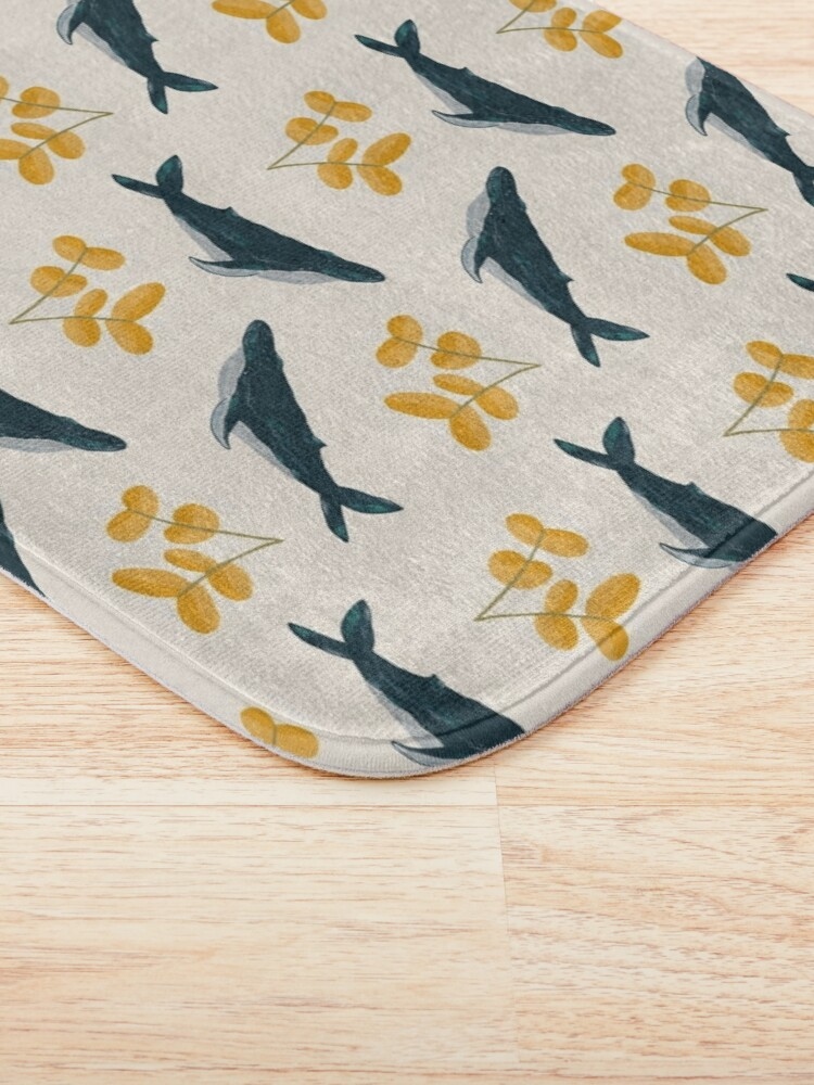 Alternate view of Happy Whales and Florals Pattern Bath Mat