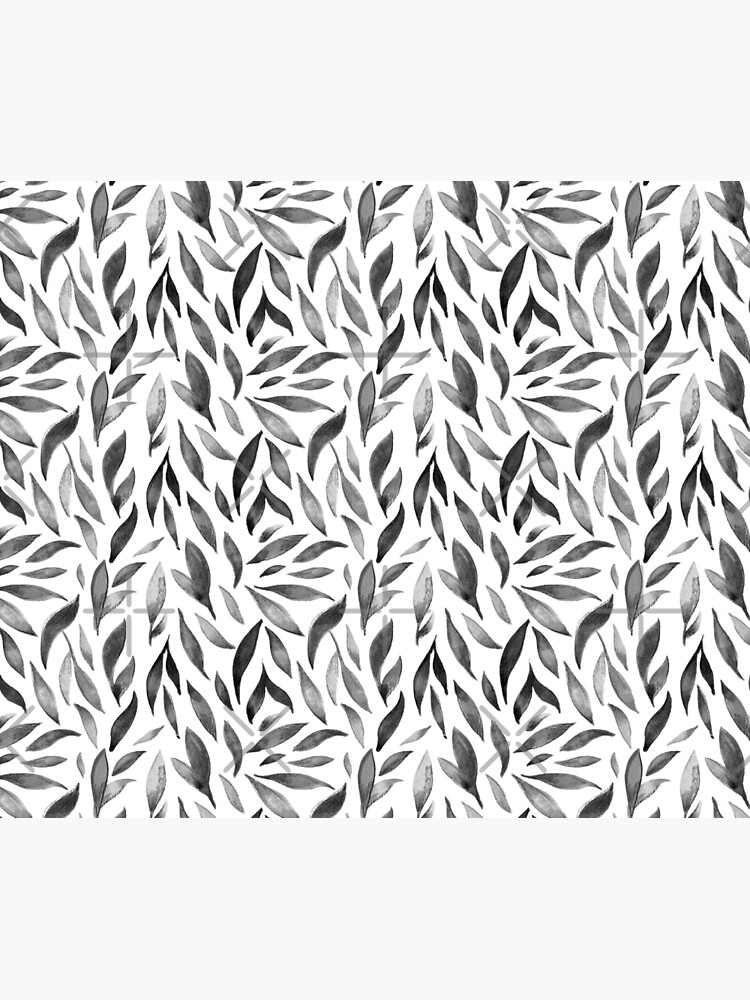 Watercolor Leaves - Monochrome by annieparsons