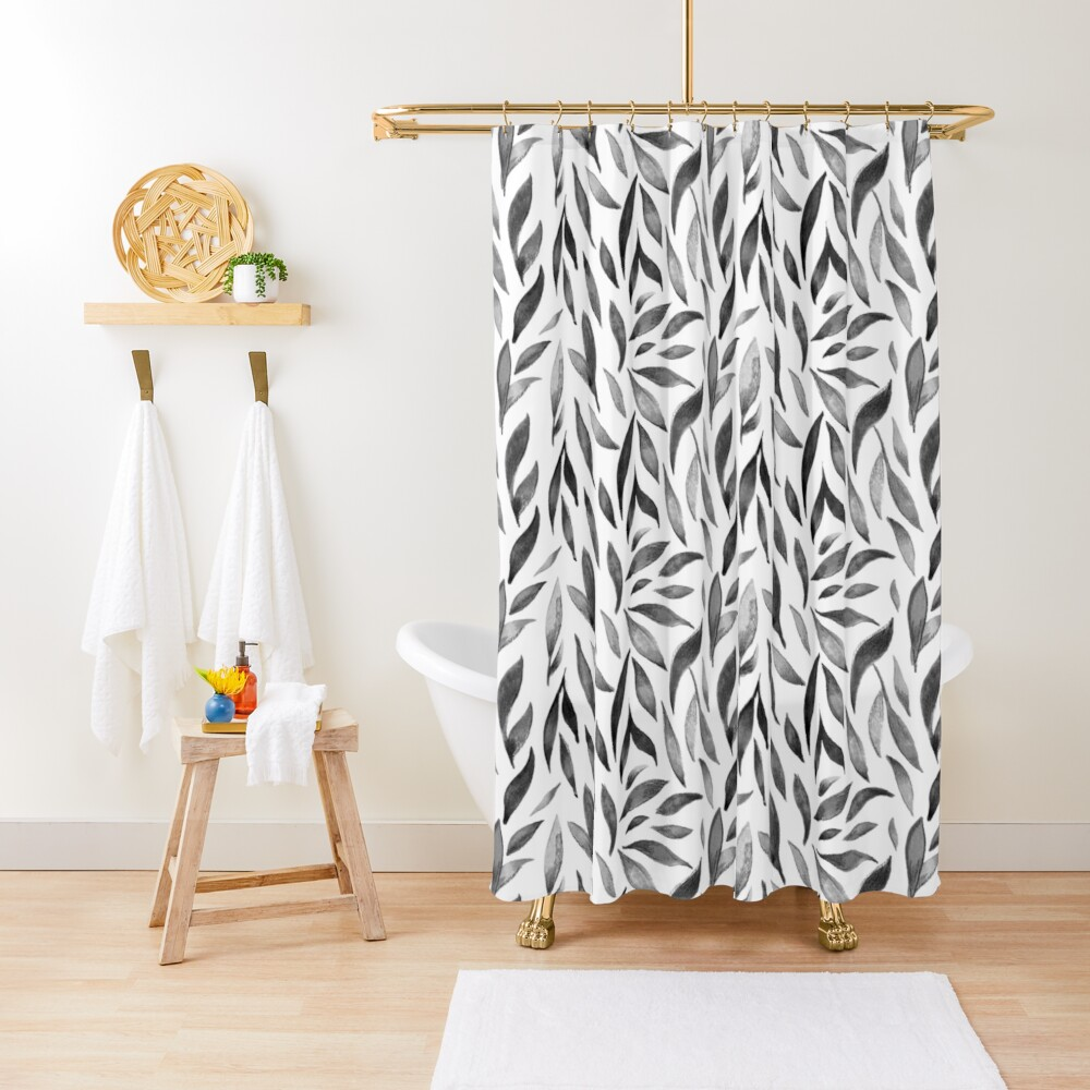 Watercolor Leaves - Monochrome Shower Curtain