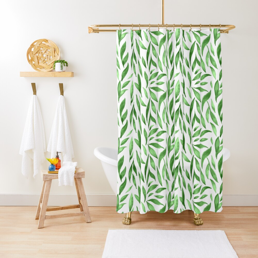 Watercolor Leaves - Green Shower Curtain