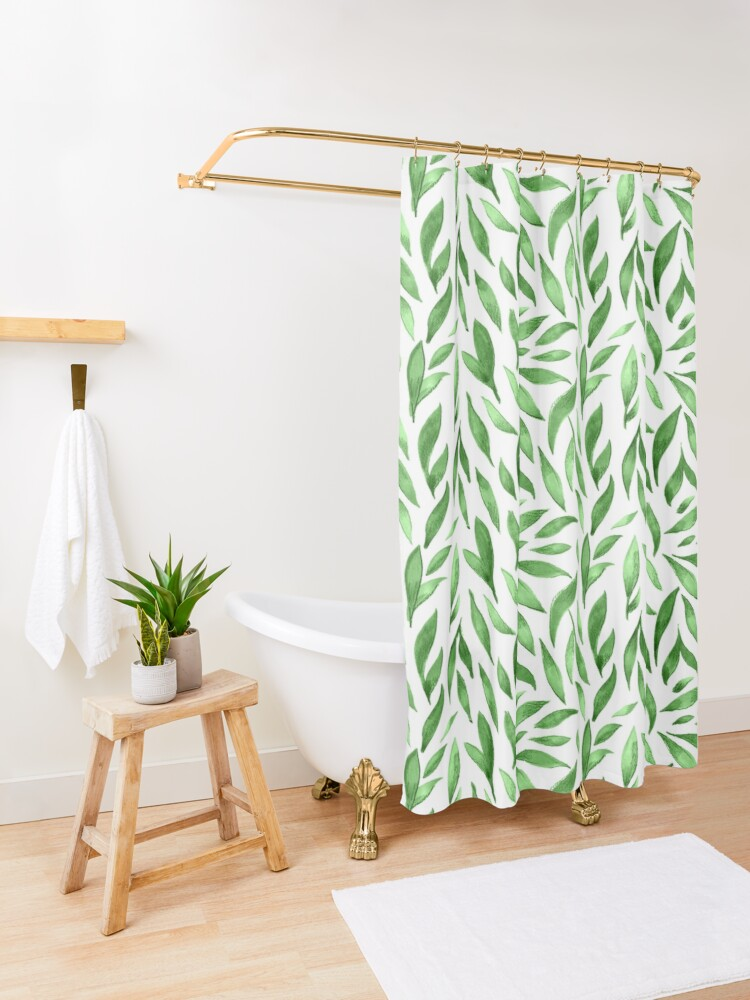 Alternate view of Watercolor Leaves - Green Shower Curtain