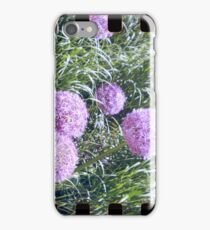 Purple flower analog photo with sprocket holes iPhone Case/Skin