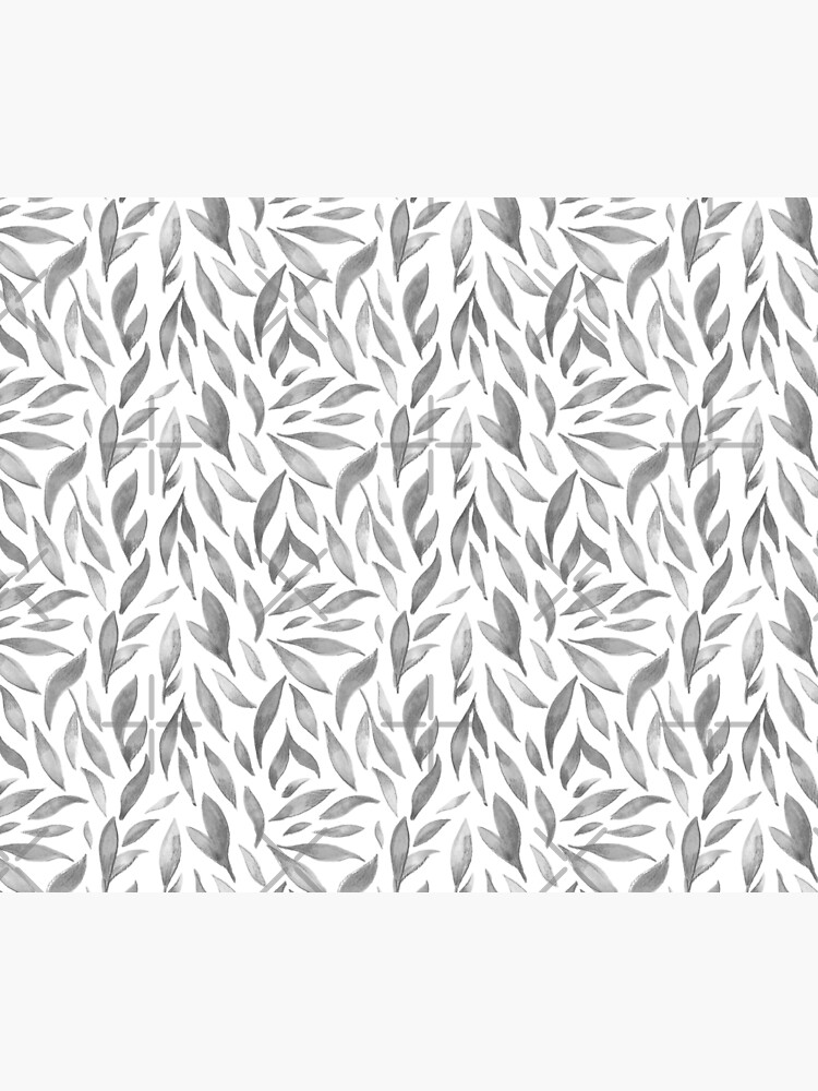 Watercolor Leaves - Greyscale by annieparsons