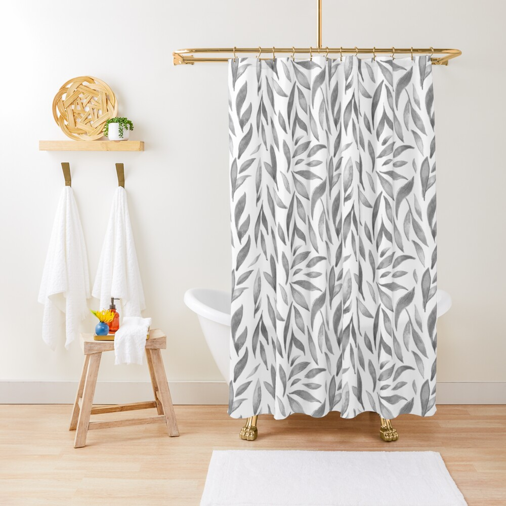 Watercolor Leaves - Greyscale Shower Curtain