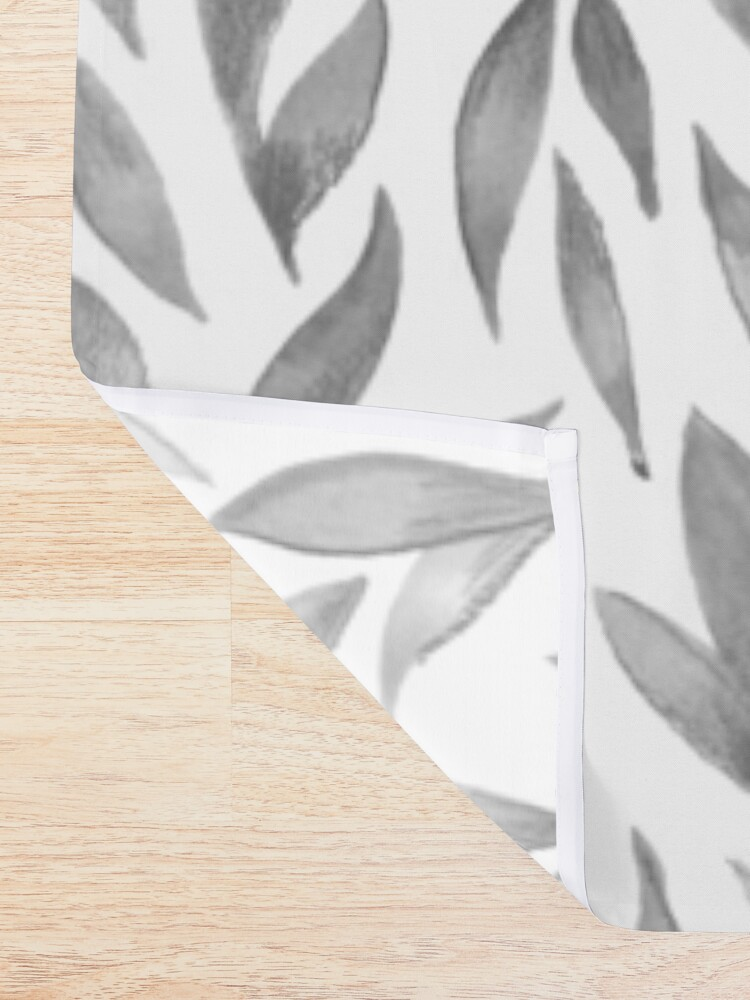 Alternate view of Watercolor Leaves - Greyscale Shower Curtain