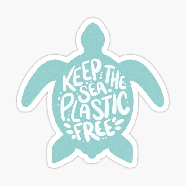 Teal Keep the Sea Plastic Free   Skip the Straw   Plastic Straw Ban   Blue Stop Sucking Sticker