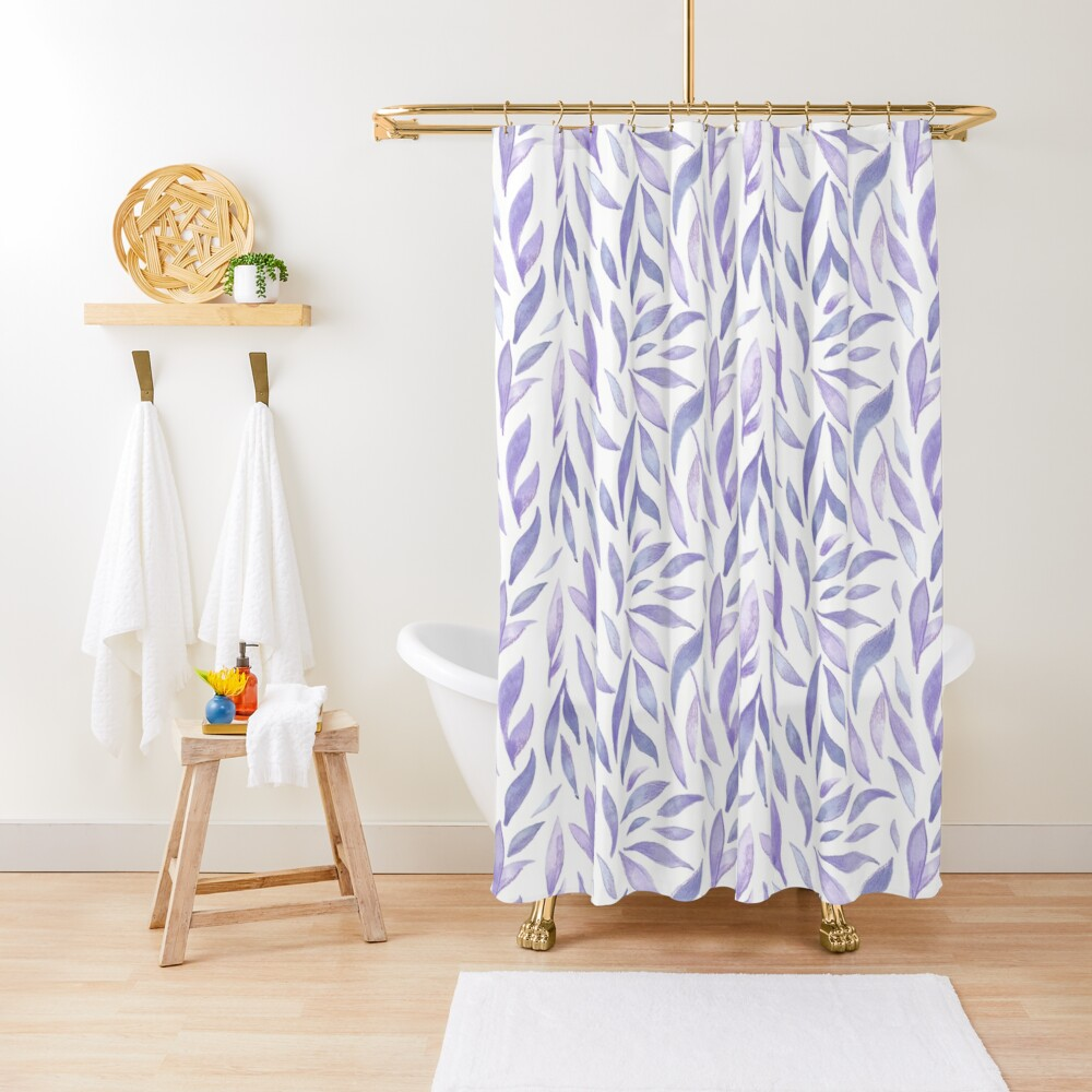 Watercolor Leaves - Lilac Shower Curtain