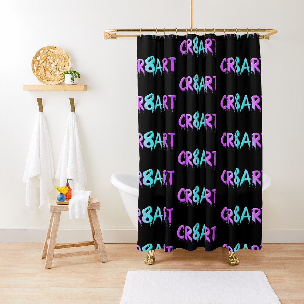 Create Art! - Candy Colors on Black Shower Curtain