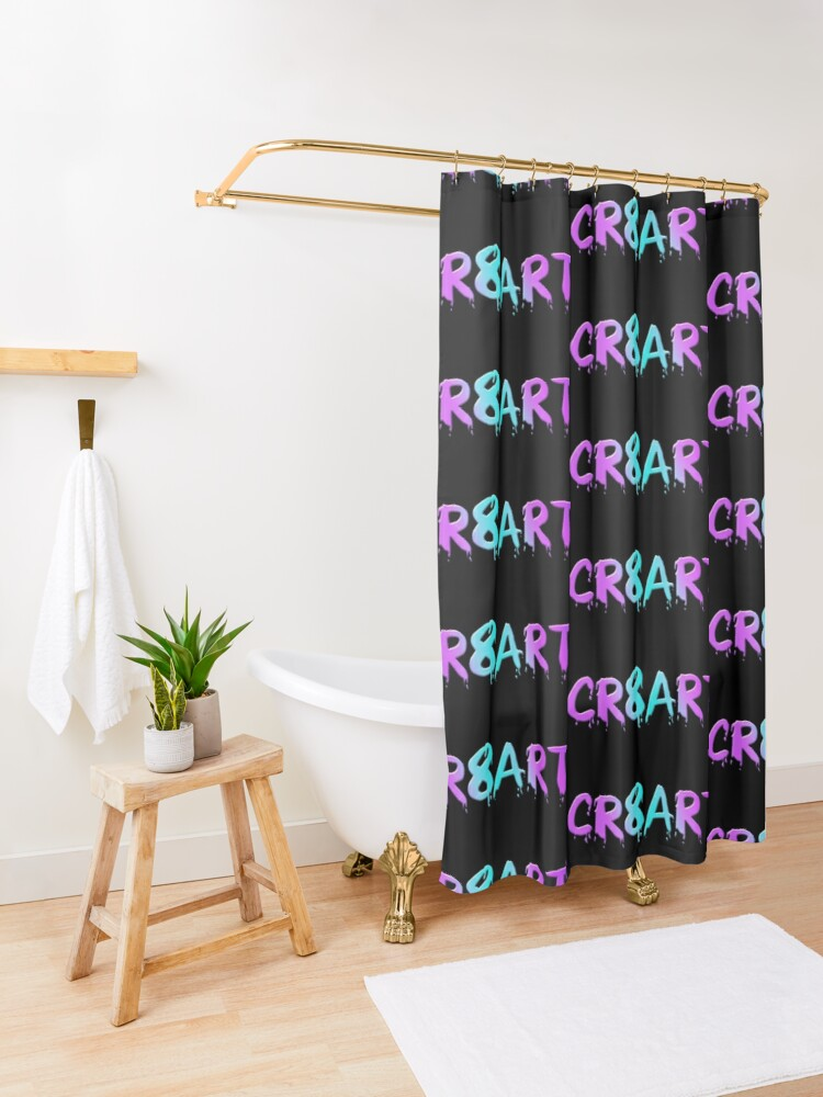 Alternate view of Create Art! - Candy Colors on Black Shower Curtain
