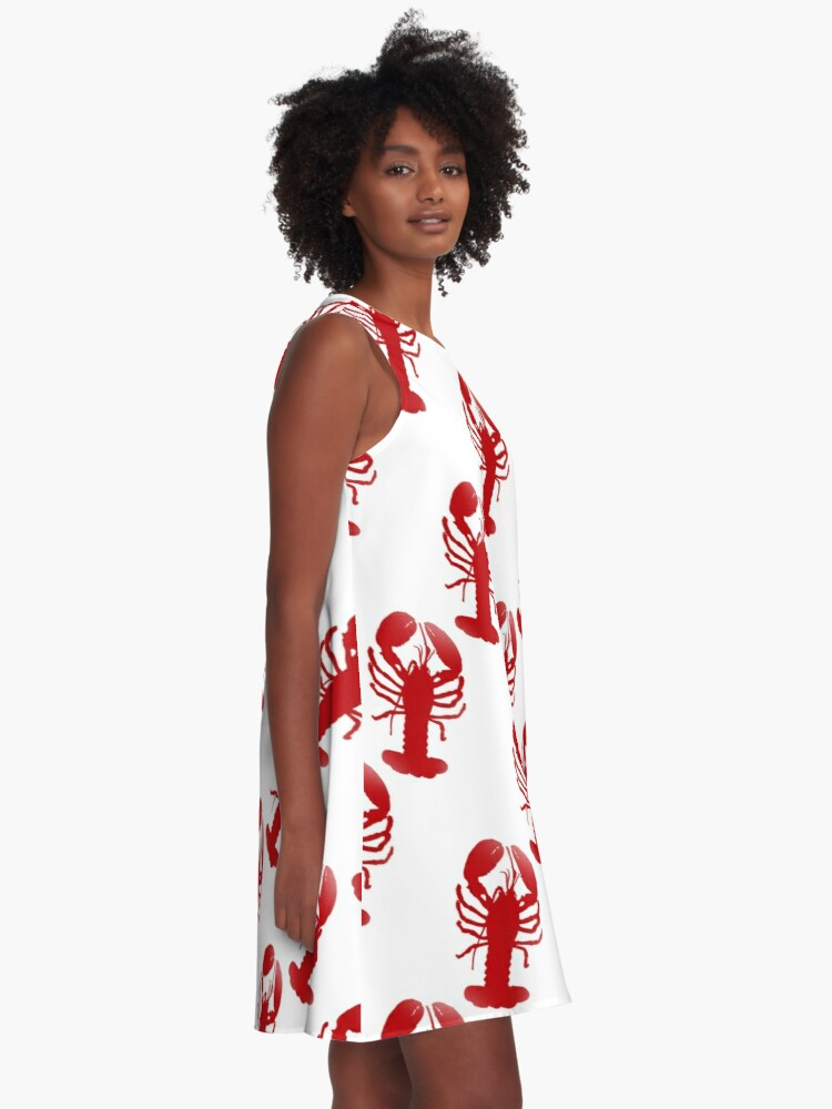 Alternate view of Red Lobster Repeating Pattern A-Line Dress