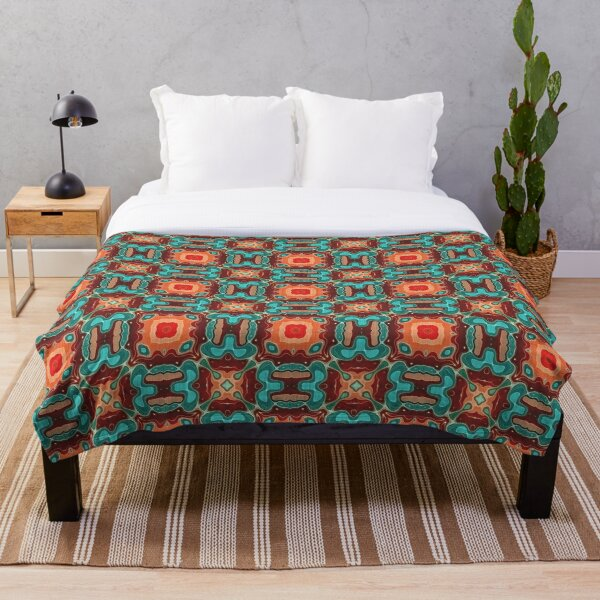 Orange Brown Red Turquoise Teal Blue Hip Orient Bali Art Throw Blanket