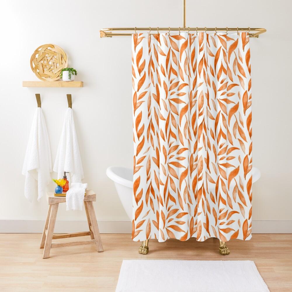 Watercolor Leaves - Orange Shower Curtain