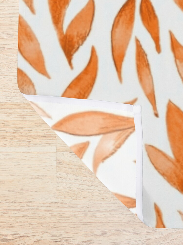 Alternate view of Watercolor Leaves - Orange Shower Curtain
