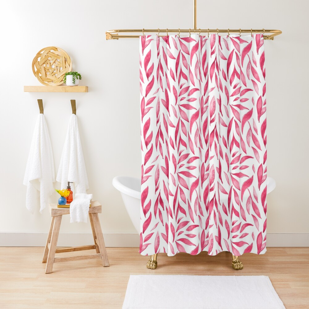 Watercolor Leaves - Pink Shower Curtain