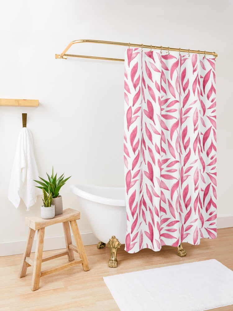 Alternate view of Watercolor Leaves - Pink Shower Curtain