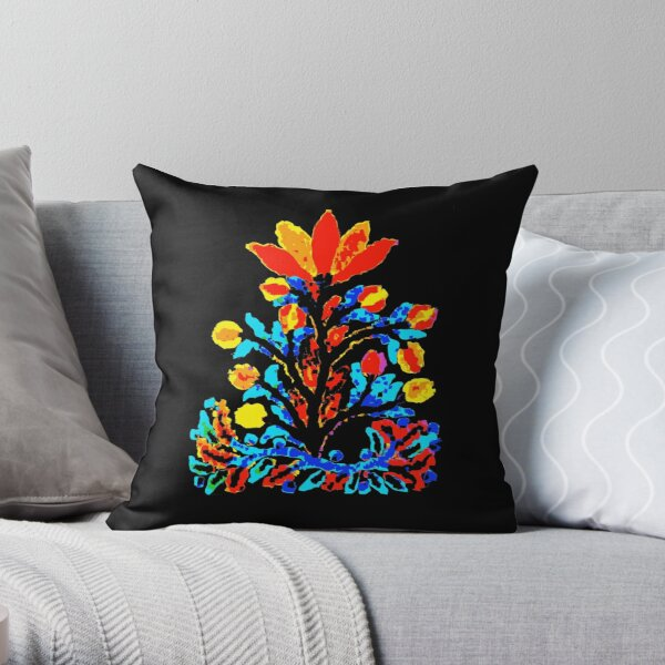 Fire and Water Flower Throw Pillow
