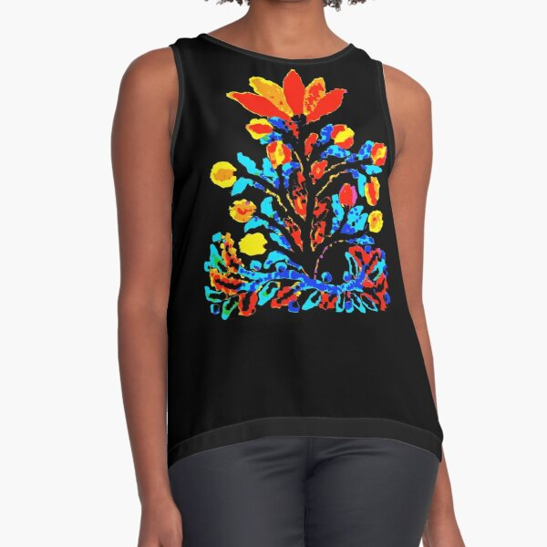 Fire and Water Flower Sleeveless Top