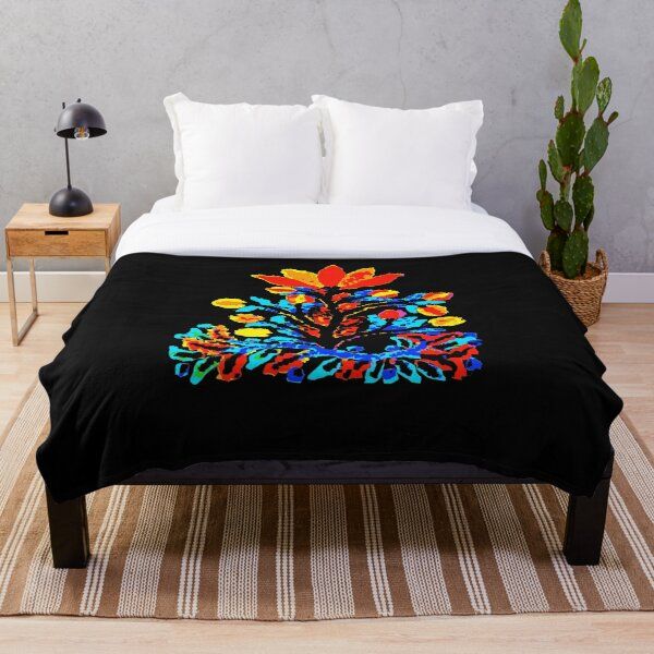 Fire and Water Flower Throw Blanket