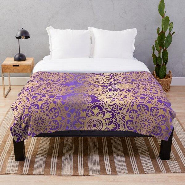 Purple and Gold Mandala Pattern Throw Blanket