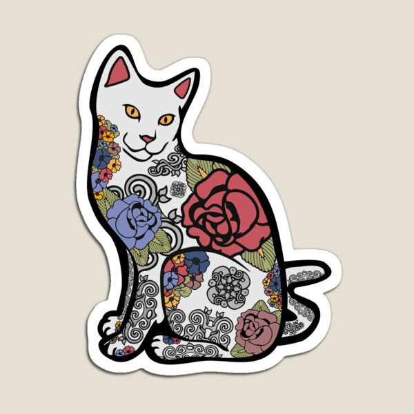 Cat With Flower Tattoos Magnet