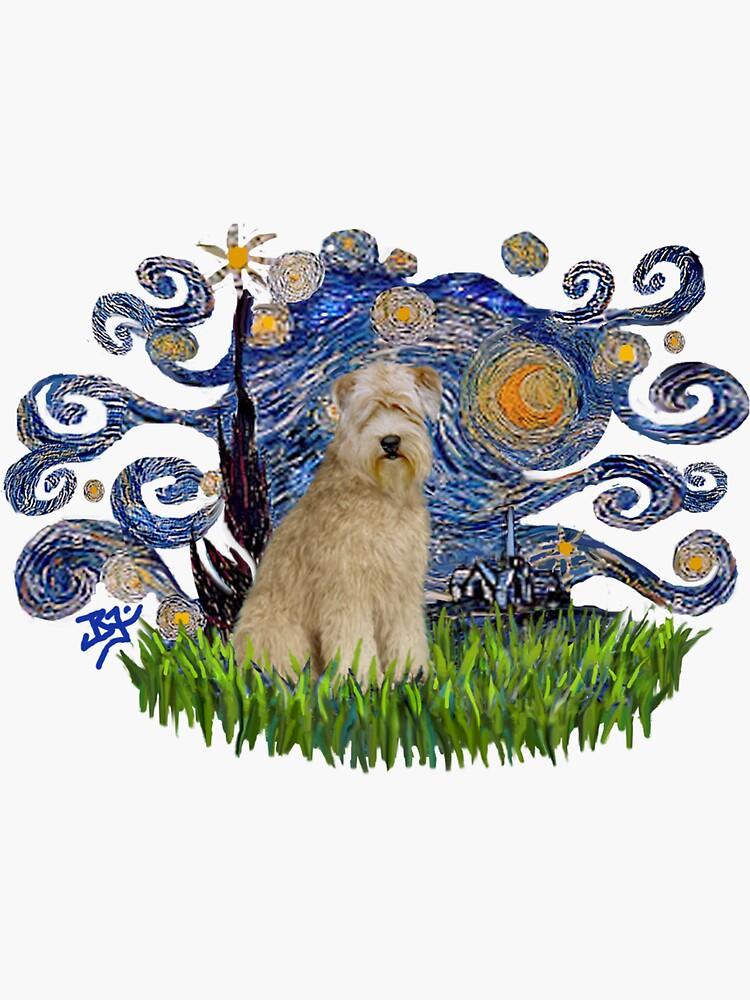 Starry Night Free Form - Soft Coated Wheaten Terrier by JeanBFitzgerald