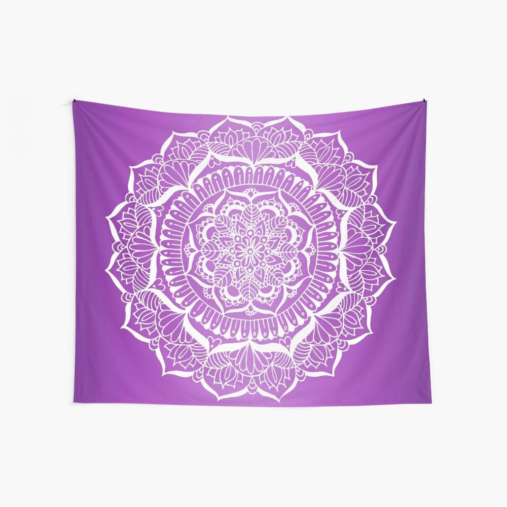 White Flower Mandala on Purple Wall Tapestry