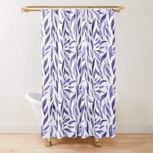 Watercolor Leaves - Purple Shower Curtain