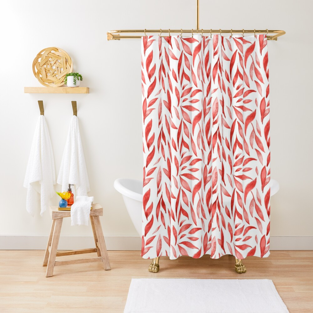 Watercolor Leaves - Red Shower Curtain