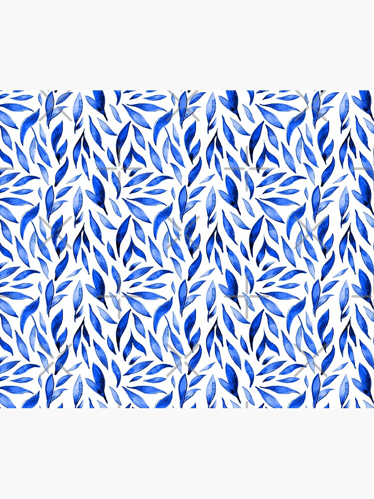 Watercolor Leaves - Royal Blue by annieparsons