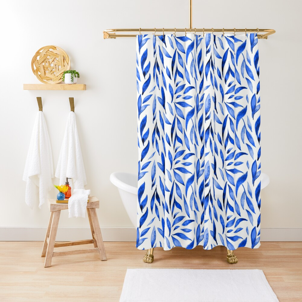 Watercolor Leaves - Royal Blue Shower Curtain