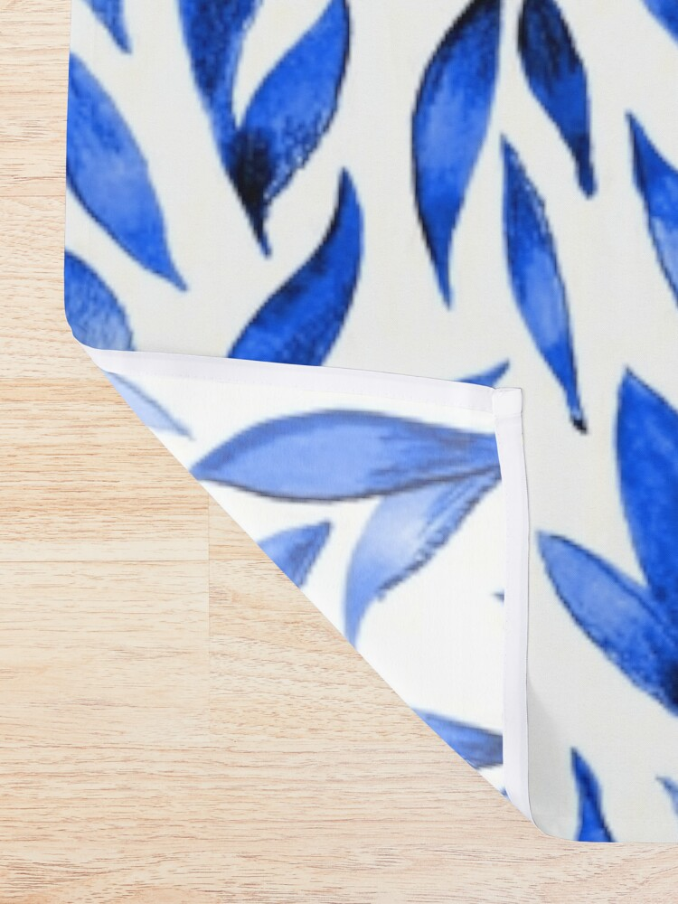 Alternate view of Watercolor Leaves - Royal Blue Shower Curtain
