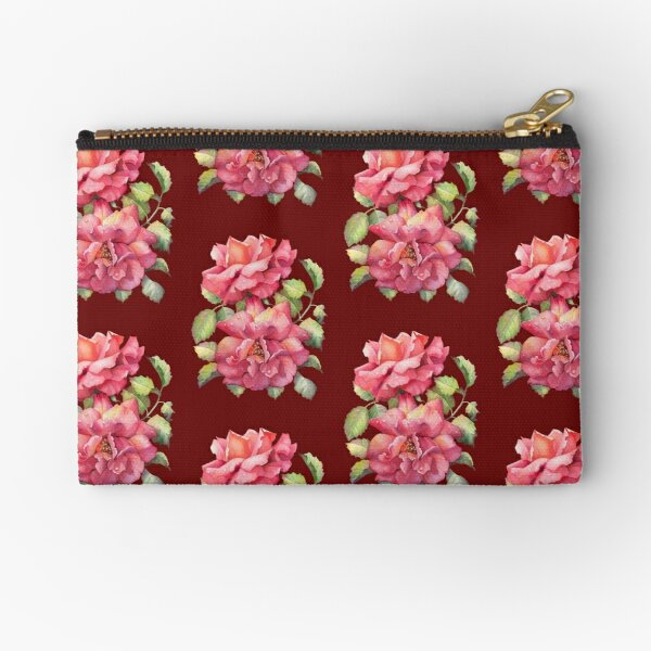 Coral Roses in Bloom Zipper Pouch