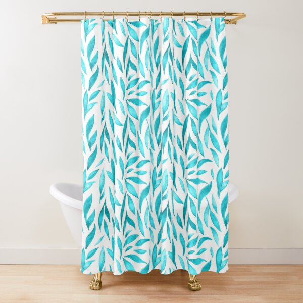 Watercolor Leaves - Teal Shower Curtain