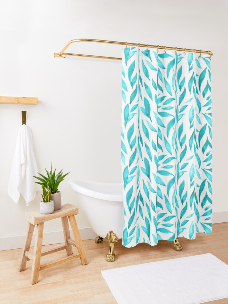 Alternate view of Watercolor Leaves - Teal Shower Curtain