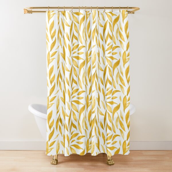 Watercolor Leaves - Mustard Yellow Shower Curtain