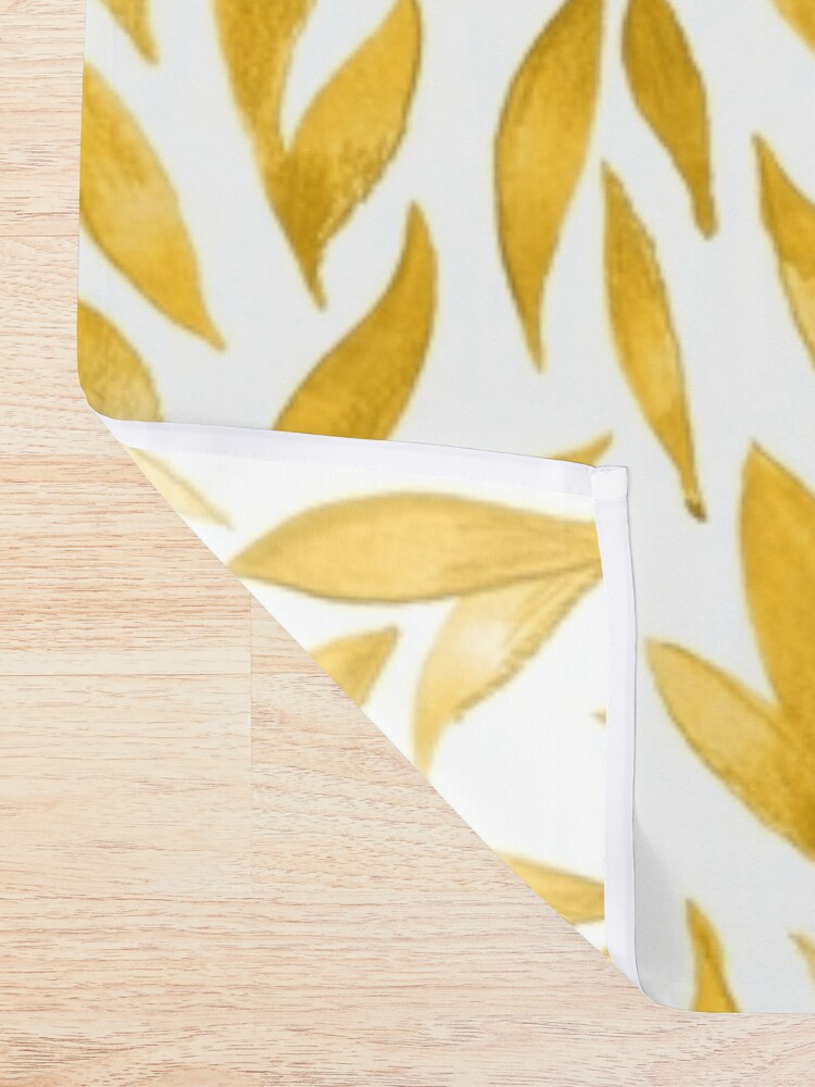 Alternate view of Watercolor Leaves - Mustard Yellow Shower Curtain