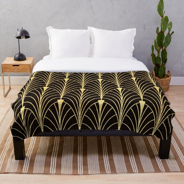 Sophisticated Glitzy (Faux) Gold Art Deco Pattern Throw Blanket