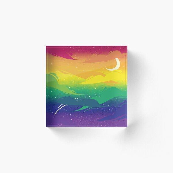 Gay Pride Clouds Acrylic Block