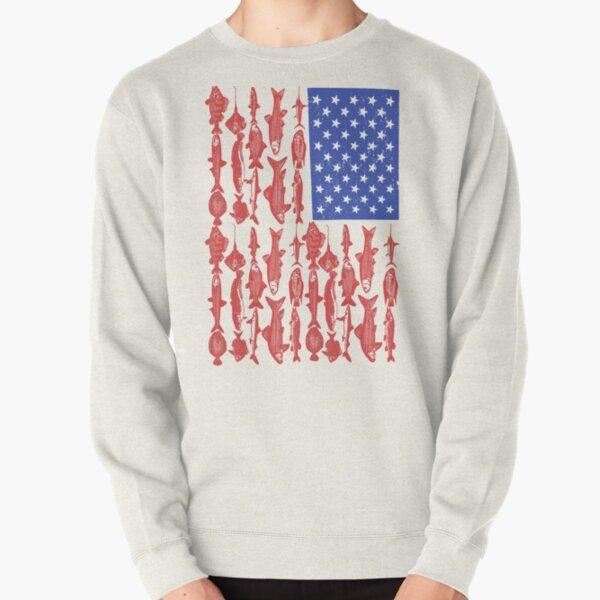 American Flag Fishing Design Pullover Sweatshirt