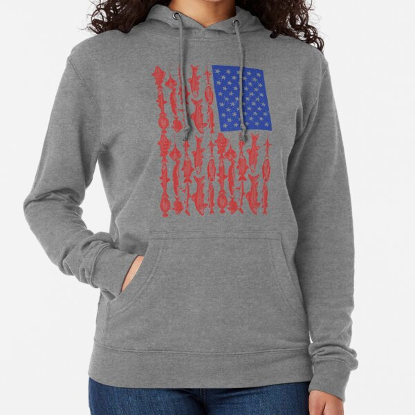 American Flag Fishing Design Lightweight Hoodie