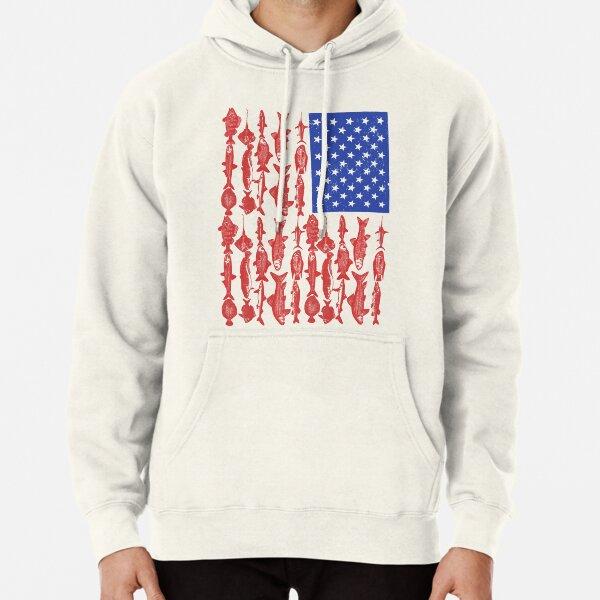 Diseño de pesca de bandera americana Sudadera con capucha